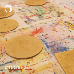 The colorful art table is a springboard for creativity.
